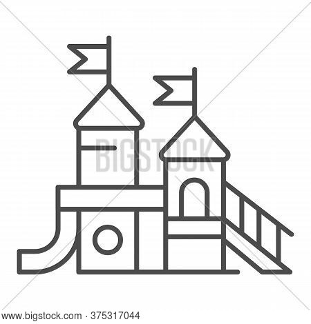 Playground Thin Line Icon, Amusement Park Concept, Kid Castle Sign On White Background, Playground F