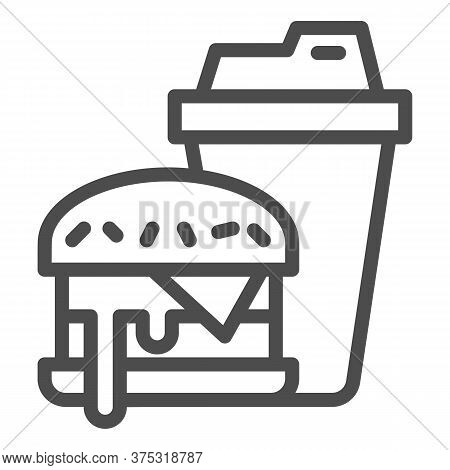 Hamburger And Glass Of Cola Line Icon, Fast Food Concept, Burger With Soft Drink Sign On White Backg