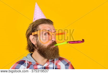 Holidays And Celebration. Party Man. Happy Birthday Party. Celebration Concept. Party Time. Man With