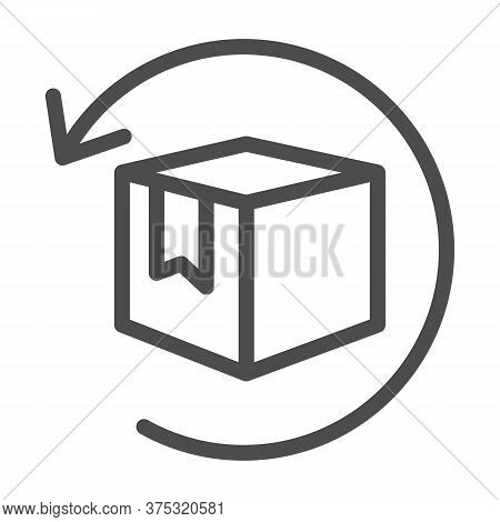 Box With Arrow Line Icon, Logistics Concept, Commodity Turnover Sign On White Background, Return And