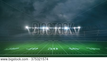 Wide View Of An American Football Stadium In A Night Game. 3d Rendering
