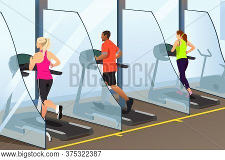 A Vector Illustration Of People Running On Treadmill Inside A Gym During Pandemic