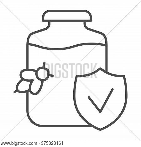 Pure Honey With Verified Logo Thin Line Icon, Honey Concept, Honey Jar And Bee Sign On White Backgro