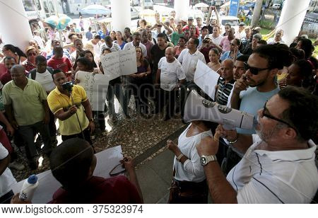 Salvador, Bahia / Brazil - May 12, 2015: Demonstration Of Employees Hired By The Federal University