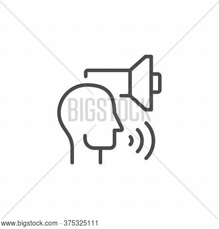 Business Speaker Line Outline Icon Isolated On White. Human Head And Loudspeaker Sign. Loud Speech.