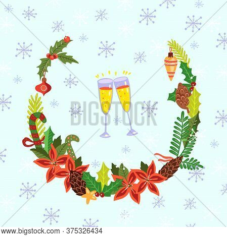 Christmas Vector Wreath With, Decorative Snowflakes And Two Glasses With Champaign. Happy New 2021 P
