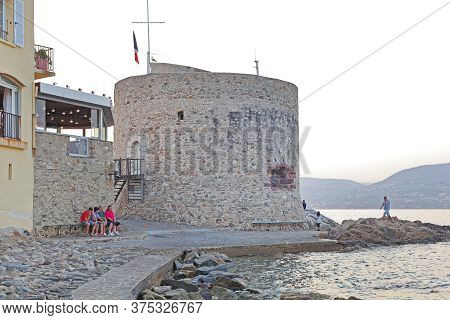 Saint Tropez, France - July 12, 2013: Fortification Tower Building Structure In Saint Tropez, France