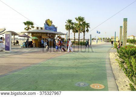 Dubai / Uae - July 3, 2020: Jumeirah Beach In Dubai. Public Urban Beach With Cafe And Promenade, Wal