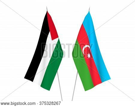 National Fabric Flags Of Palestine And Republic Of Azerbaijan Isolated On White Background. 3d Rende