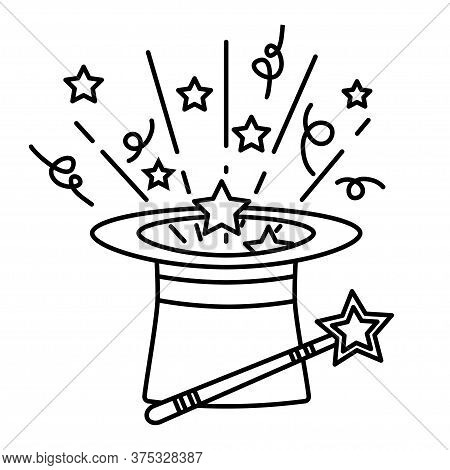 Outline Magic Hat With Wand Stick And Stars. Magical Performance Template. A Magical Icon In Flat St