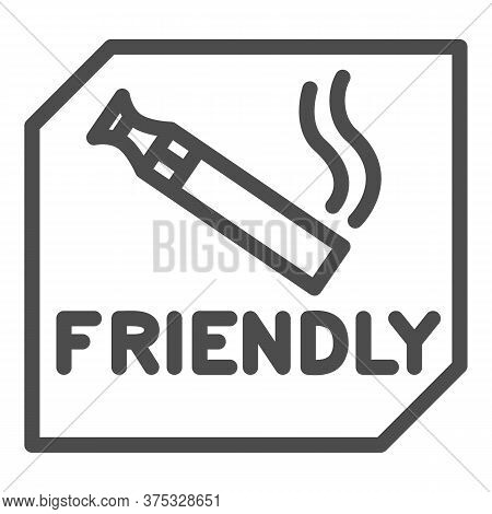 Place For Smoking Vape Line Icon, Smoking Concept, Smoking Area Sign On White Background, Vape And E