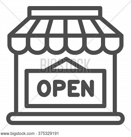 Open Shop Building Line Icon, Market Concept, Store With Open Signboard On White Background, Store W