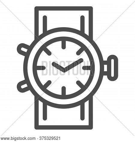 Mechanical Watch Line Icon, Shopping Concept, Clock Sign On White Background, Wrist Watch Icon In Ou