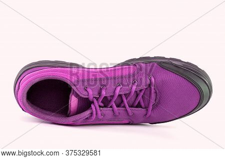 Right Cheap Pink Hiking Or Hunting Shoe Isolated On White Background - View From Above