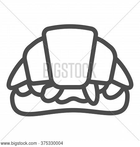Croissant Sandwich Line Icon, Street Food Concept, French Snack Sign On White Background, Croissant