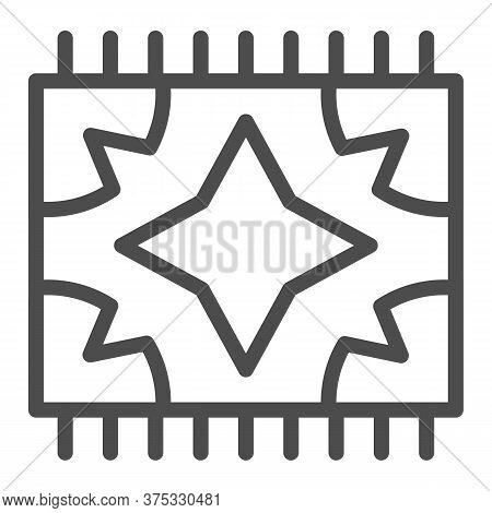 Picnic Blanket For Outdoor Leisure Line Icon, Summer Picnic Concept, Plaid Sign On White Background,