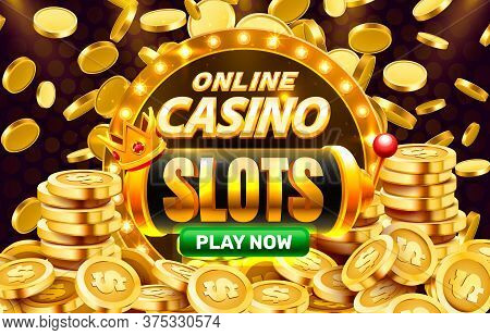 Play Now Slots Golden Coins, Casino Slot Sign Machine, Night Jackpot Vegas. Vector