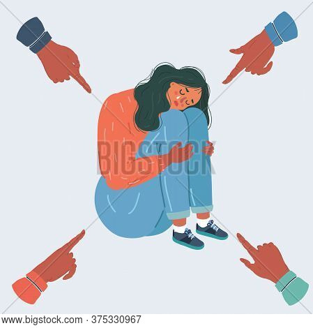 Vector Illustration Of Teenager Student With Fear At His School. Bullying Of Young Woman Girl On Whi