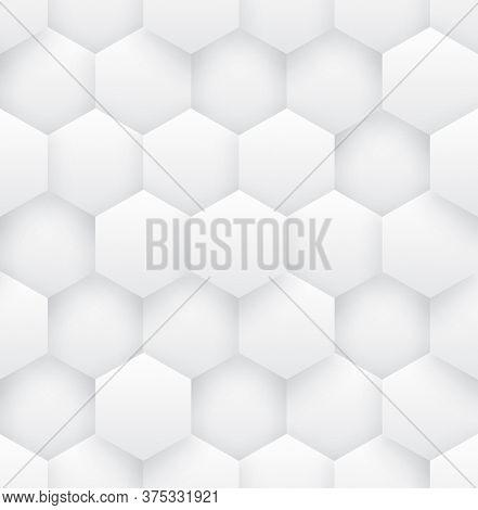 3d Vector Hexagons White Abstract Seamless Pattern. Science Technology Hexagonal Blocks Structure Li