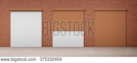 Gate With Brown Rolling Shutter In Brick Wall. Vector Realistic Set Of Closed And Open Roller Up For