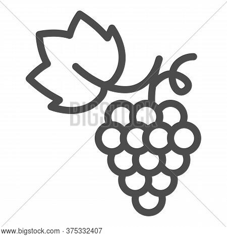 Bunch Of Grapes Line Icon, Summer Concept, Grapes Sign On White Background, Bunch Of Wine Grapes Wit