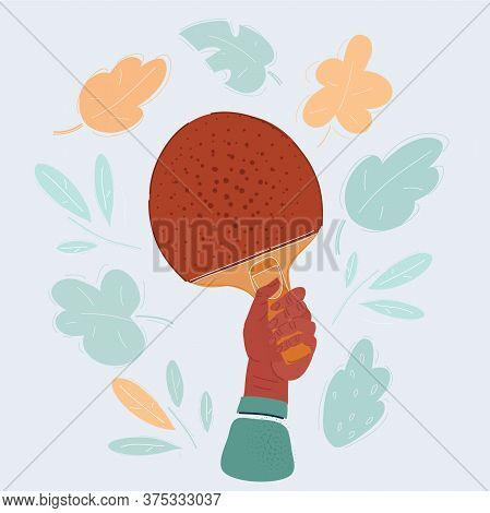 Vector Illustration Of Human Hands Hold Table Tennis Racket With. Playing Ping-pong Concept.