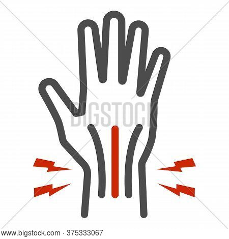 Pain In Hand Line Icon, Body Pain Concept, Injury In Hand Joint Sign On White Background, Human Hand