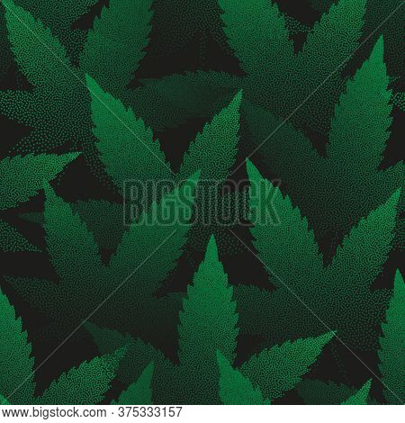 Marijuana Leaves Vector Seamless Pattern Pointillism Art Green Abstract Background. Medical Cannabis