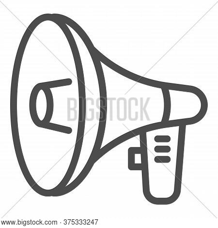 Loudspeaker Line Icon, Audio Concept, Megaphone Sign On White Background, Loud Speaker Icon In Outli