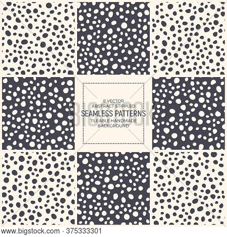 Set Of 8 Vector Abstract Stippled Scandinavian Style Seamless Patterns. Simple Dotted Repetitive Bac