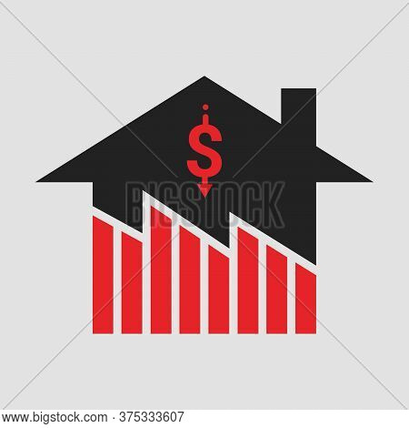 Symbol Of Decline In Real Estate Business And Properties Market Price Crisis. Design By Financial Ch