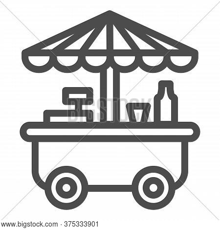 Street Stall On Wheels Line Icon, Market Concept, Street Sale Cart Sign On White Background, Fast St