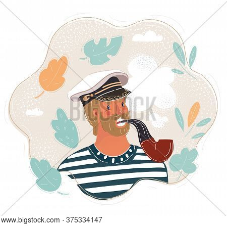 Vector Illustration Of Middle-aged Sailor. Man Wearing Marine Captain Uniform And Smoke Tobaco Pipe