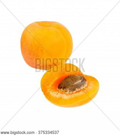 Apricot Isolated. Apricots With Slice. Fresh Cut Apricot Fruits Isolate On White Background.