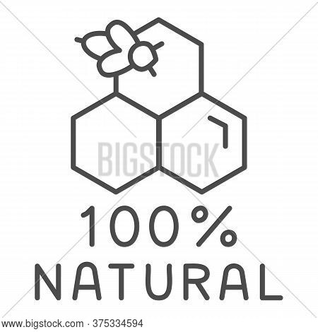 Honeycombs With Bee And Text Natural Honey Thin Line Icon, Natural Organic Honey Sign On White Backg