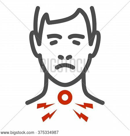 Sore Throat Line Icon, Healthcare Concept, Man Feel Pain In Throat Sign On White Background, Painful
