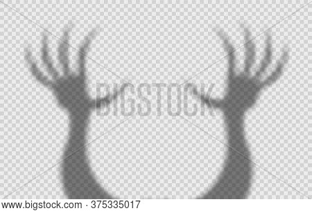 Shadow Overlay Effect For Halloween Background With Scary Hands With Long Nails. Mockup Of Transpare
