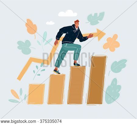 Vector Illustration Of Education Success Graph Successful Man Step On Level.