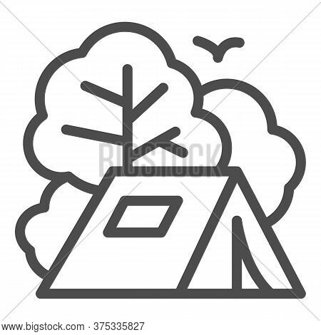 Tent Line Icon, Travel Concept, Tourist Tent Sign On White Background, Camping Icon In Outline Style