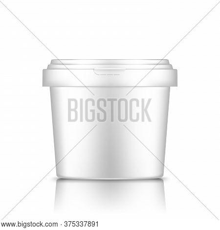 White Bucket With Cap Mockup Isolated From Background: Ice Cream, Yoghurt, Mayonnaise