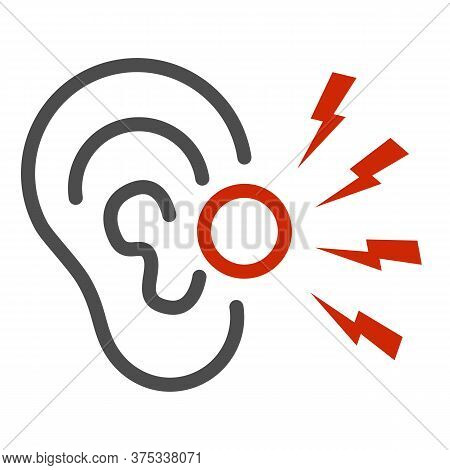 Ear Pain Line Icon, Illness And Injury Concept, Earache Sign On White Background, Ear Inflammation I