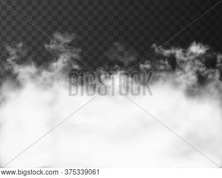 White Clouds On The Dark Transparent Background. Thick Strong Smoke From Fire Or Conflagration. 3d R