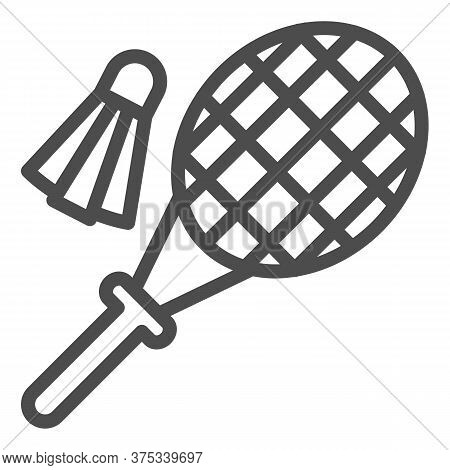 Racket And Shuttlecock Line Icon, Summer Sport Concept, Badminton Sign On White Background, Badminto