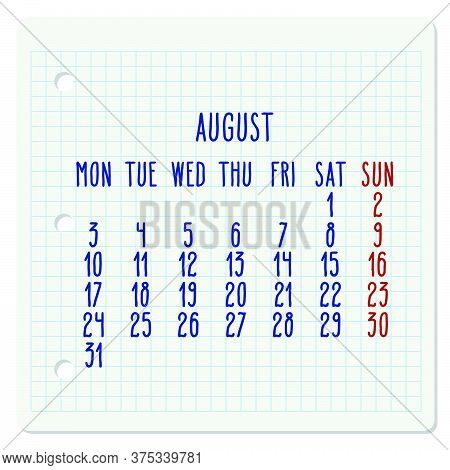 August Year 2020 Vector Monthly Calendar On A Squared Notebook Page. Hand Written Chequered Note Pad