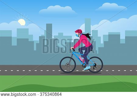 A Girl Wearing Mask And Gloves Riding Bicycle On A Cycle Lane In An Urban Area Vector Illustration F