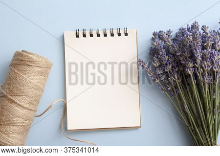 Blank Sheet Of Flat Lay Notebook With Lavender, Twine. Write Your Message
