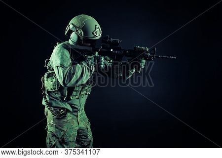 Special Forces Attack, Soldier In Uniform With A Rifle In Action, American Ranger With Guns