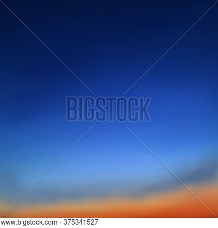 Beautiful Natural Background, Bright Sky, Sunset. Gradient, Transition From Dark Blue, Sapphire To C