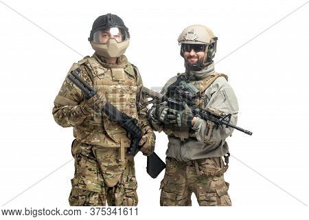 American Special Forces. Two Soldiers In Military Equipment With Weapons On A White Isolated Backgro