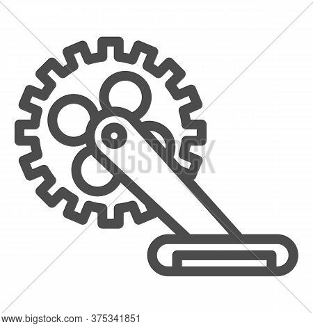 Gear With Pedal Line Icon, Bicycle Concept, Bicycle Crank Sign On White Background, Bicycle Pedal Ic